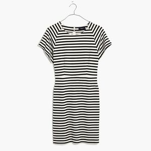 Madewell black and white striped dress